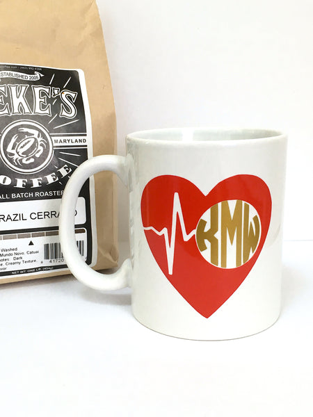 Monogrammed Heartbeat Coffee Mug
