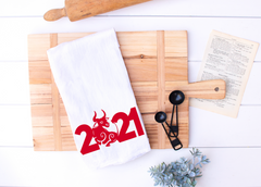 Chinese New Year 2021 Kitchen Towel, Year of the Ox, Lunar New Year