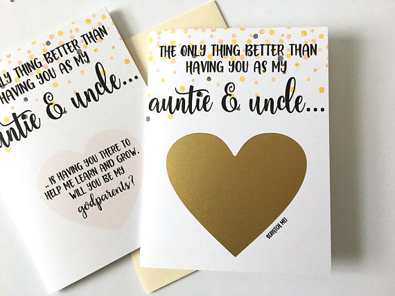 Confetti Godparent Proposal Scratch Off Card