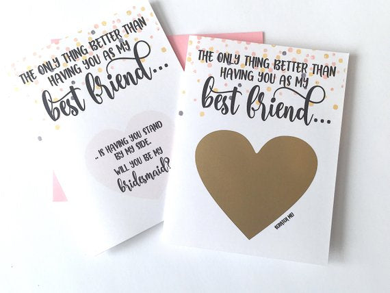 Best Friend Bridesmaid Scratch Off Proposal Confetti