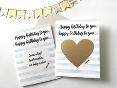 Birthday Surprise Pregnancy Scratch Off Card with Personalized Month