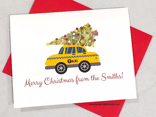 New York Taxi Personalized Christmas Cards