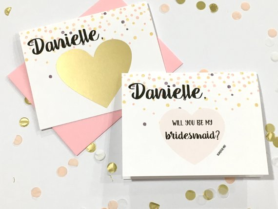Pink Dots Personalized Scratch Off Will You Be My Bridesmaid