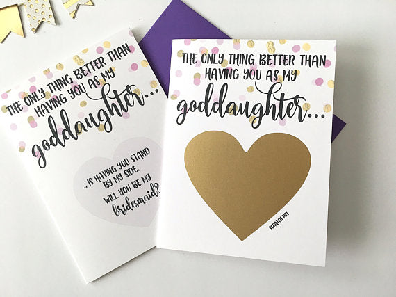 Bridesmaid Scratch Off Proposal for Goddaughter