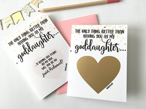Goddaughter Junior Bridesmaid Scratch Off Proposal Card