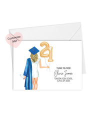 Custom Graduation Thank You Cards for Her, Set of 10