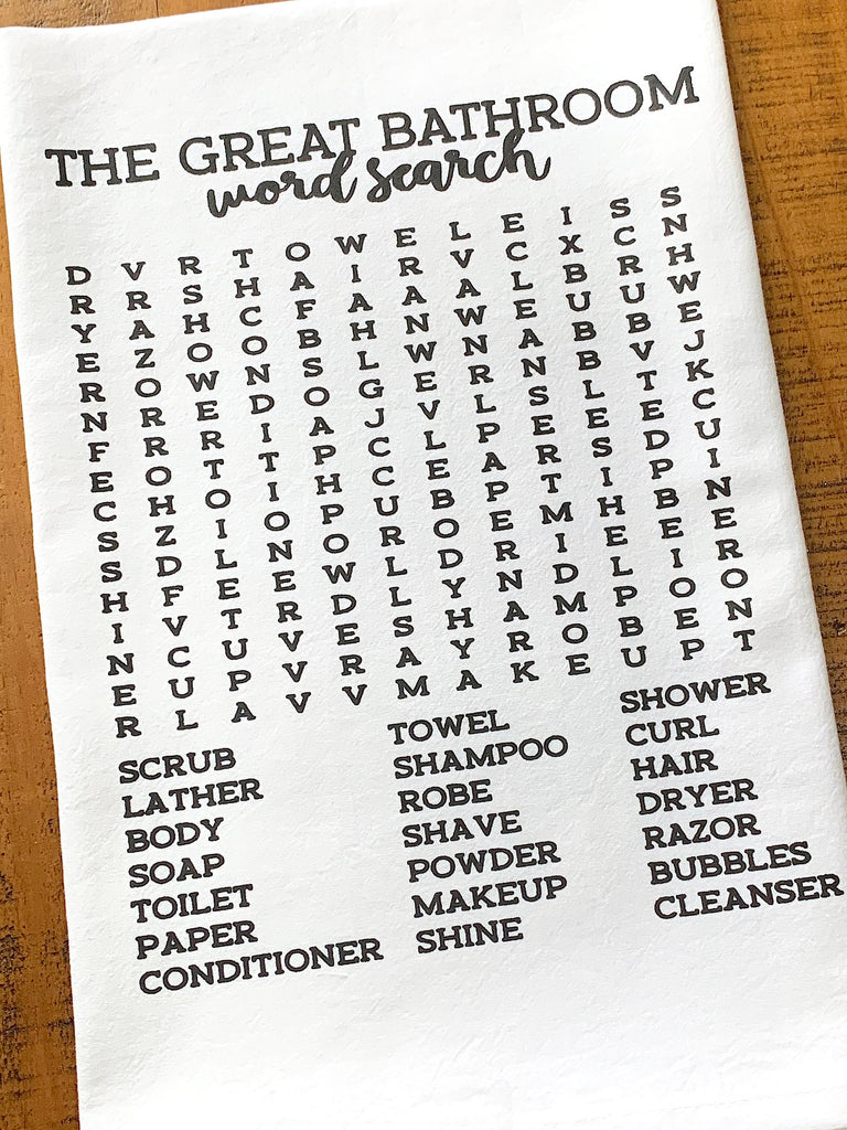 Housewarming gift hand towel for bathroom funny word search