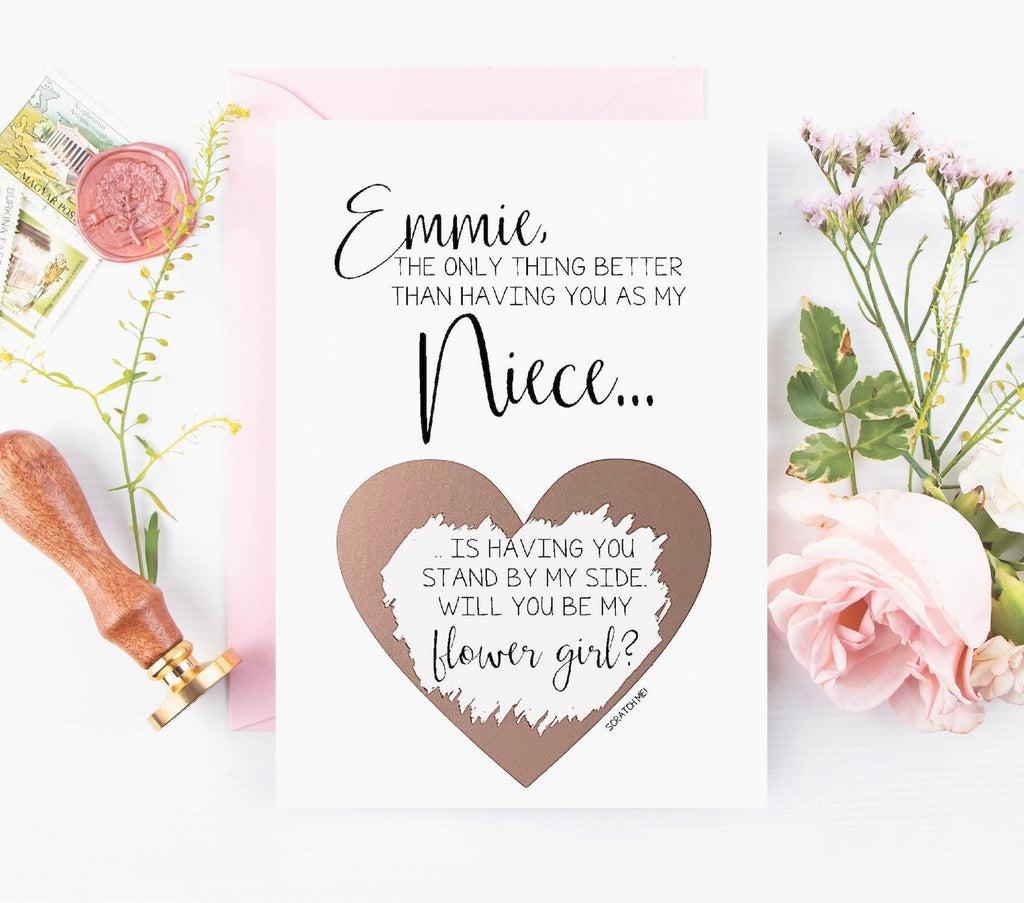 "Customized scratch off proposal card heart in rose gold. ""The only thing better than having you as my niece..."""