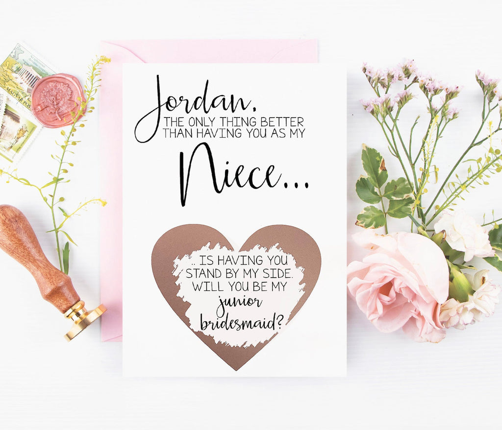 Junior bridesmaid rose gold personalized niece scratch off