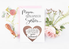 Personalized sister junior bridesmaid scratch off rose gold heart