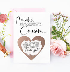 Personalized Cousin Flower Girl Proposal Rose Gold Scratch Off