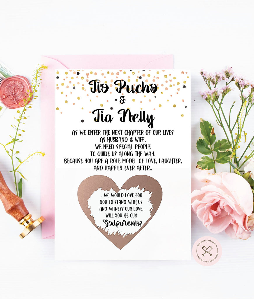 Custom Tia/Tio spanish godparents asking card rose gold scratch off on wedding day