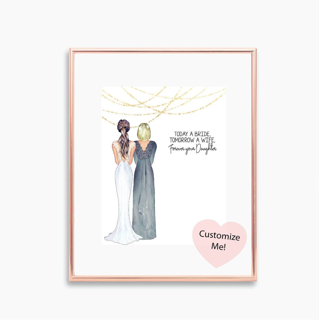 Today a bride, tomorrow a wife, forever your daughter custom wedding day keepsake for mom