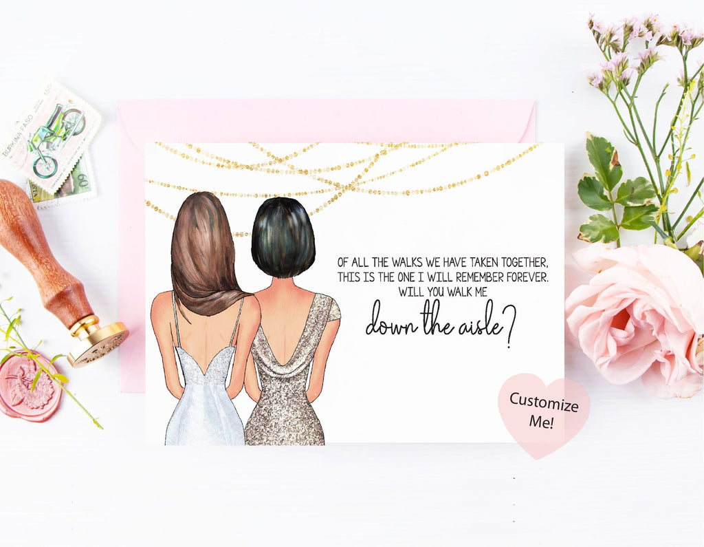 Of all the walks we have taken together, this is the one I will remember forever. Will you walk me down the aisle? Custom proposal card for mother wedding day