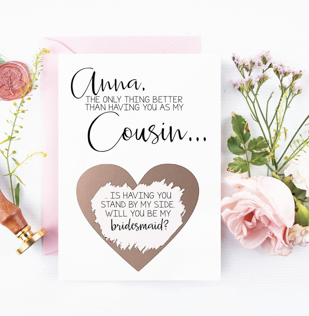 Personalized cousin will you be my bridesmaid