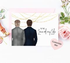 To the Love of my Life - Grooms LGBT Wedding Day Card with Custom Portraits