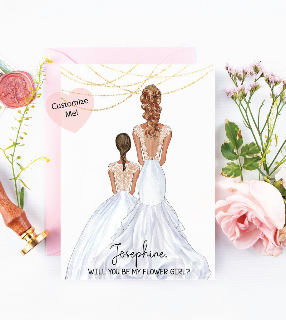 Will you be my flower girl? Custom portrait asking cards