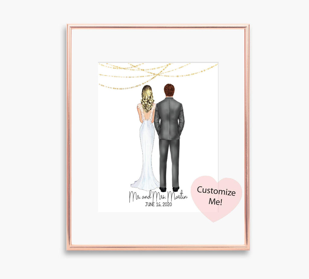 Custom wedding gift for bride and groom couple wedding keepsake wall art custom portraits