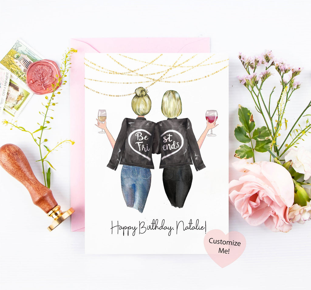 Happy birthday, best friend! Perfect customized portrait card for your best friend on her birthday