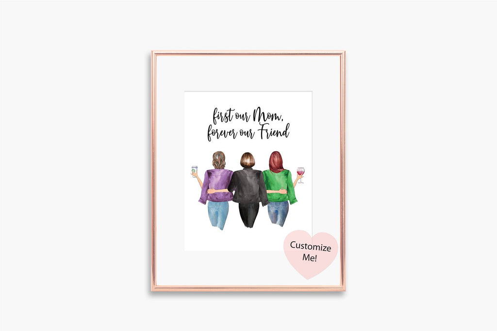 First our mom, forever our friend custom wall art mother's day gift