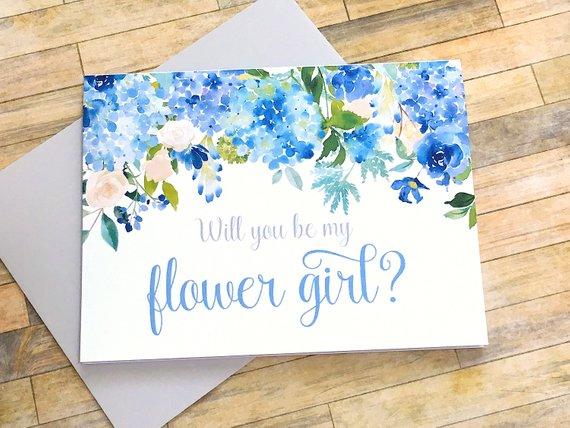 Flower Girl Proposal Card Hydrangea