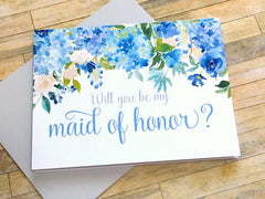 Blue Hydrangea Maid of Honor Proposal Card