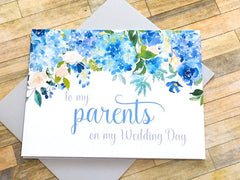 Hydrangea Card for Parents on Wedding Day