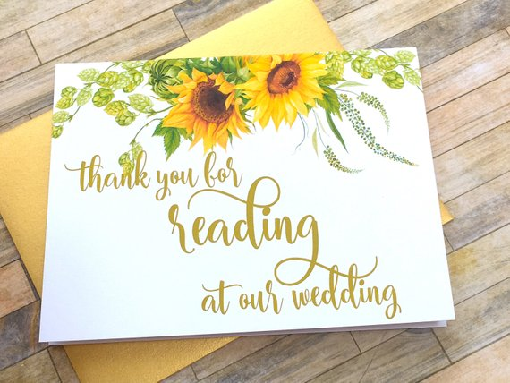 Sunflower Officiant Thank You Card