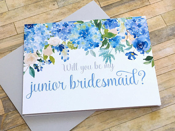 Junior Bridesmaid Proposal Card Hydrangea