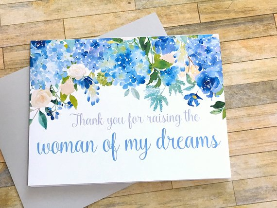 Hydrangea Thank You for Raising the Woman of My Dreams Wedding Day Card