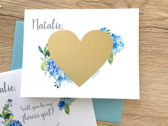 Blue Hydrangea Flower Girl Scratch Off Proposal