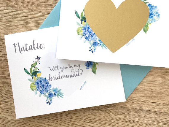 Blue Hydrangea Bridesmaid Scratch Off Proposal