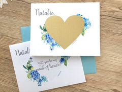 Hydrangea Maid of Honor Scratch Off Proposal