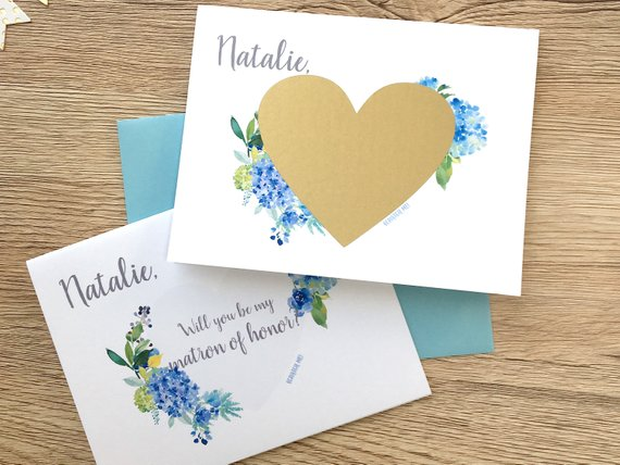 Blue Hydrangea Matron of Honor Scratch Off Proposal