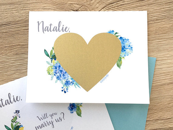 Hydrangea Will You Marry Us Scratch Off Card