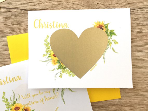 Sunflower Scratch Off Proposal for Matron of Honor