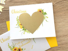 Sunflower Bridesmaid Scratch Off Proposal