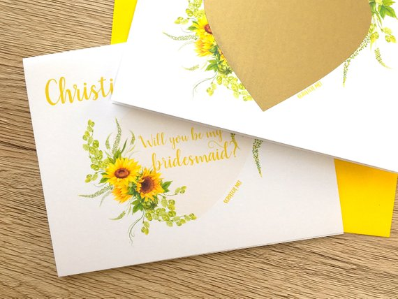 Sunflower Scratch Off Proposal for Bridesmaid