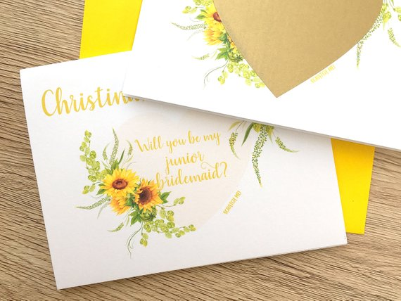 Sunflower Junior Bridesmaid Proposal Scratch Off Card