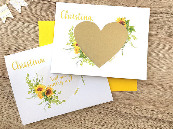 SUnflower Will You Marry Us Scratch Off Personalized Proposal Card