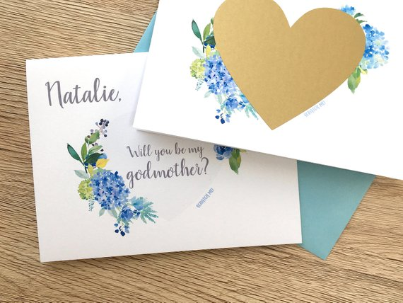 Blue Hydrangea Scratch Off Proposal for Godmother