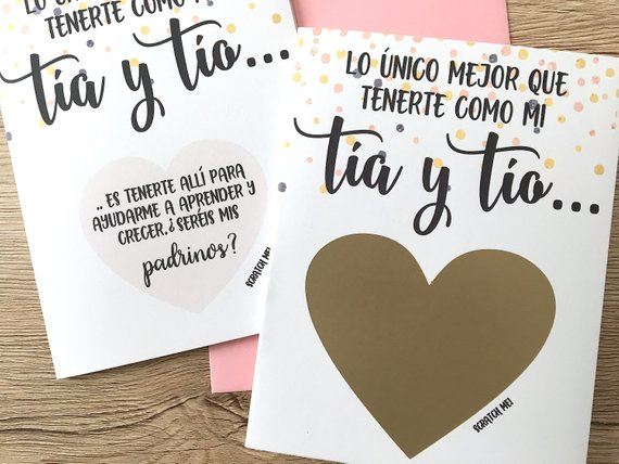 confetti Godparents Proposal Scratch Off Card-SPANISH