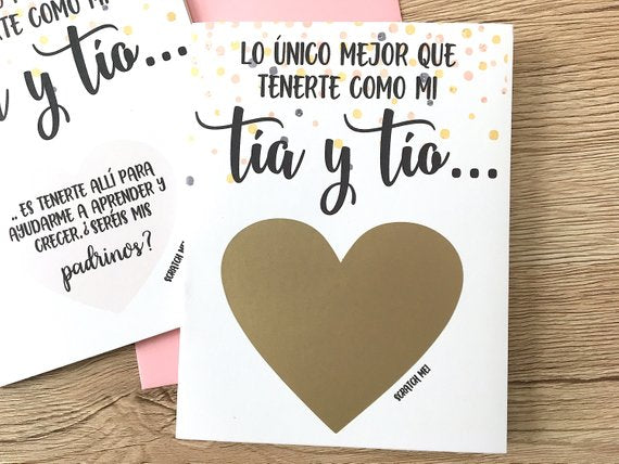 Tia y Tio Padrinos Spanish Godparents Proposal Scratch Off Card