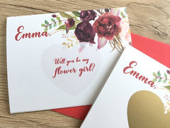 Sangria Flower Girl Personalized Scratch Off Proposal