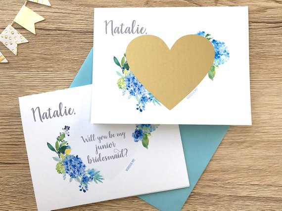 Junior Bridesmaid Scratch Off Proposal Blue Hydrangea