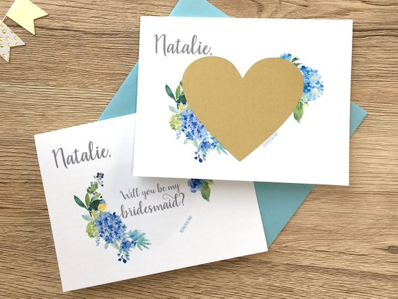 Floral Blue Hydrangea Bridesmaid Scratch Off Proposal