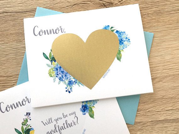 Blue Hydrangea Scratch Off Proposal for Godfather
