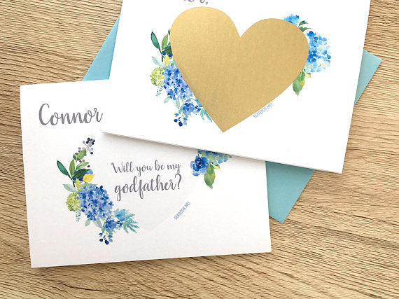Blue Flower Personalized Godfather Scratch Off Proposal Card