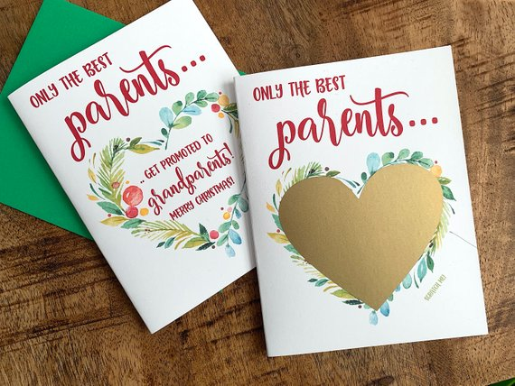 Parents Christmas Pregnancy Scratch Off Card
