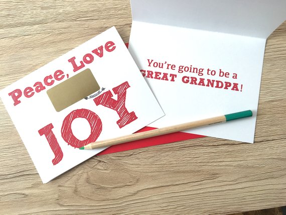 Christmas Joy Baby Reveal Scratch off Card for Grandpa